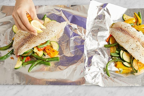 Assemble & bake the foil packets: