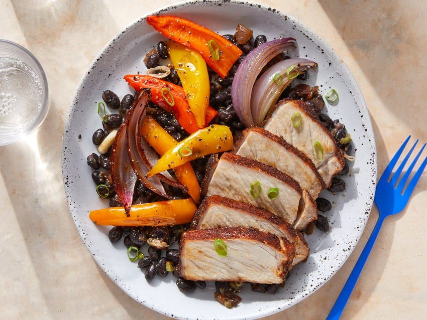 Mexican-Spiced Pork Roast with Caramelized Onion & Black Beans