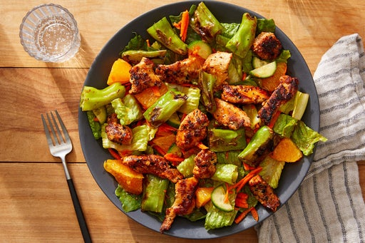 Orange Chicken Salad with Carrots, Cucumber & Shishito Peppers