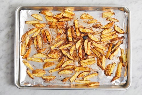 Prepare & roast the oven fries: