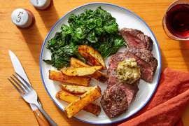 Seared Steaks & Lemon-Caper Butter with Oven Fries