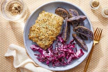 Parmesan & Panko-Crusted Cod with Purple Potatoes & Cabbage Slaw