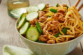 Pork & Snap Pea Ramen with Marinated Cucumber