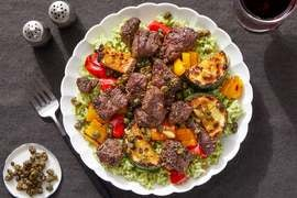 Italian Beef & Pesto Rice Bowls with Sautéed Vegetables & Crispy Capers