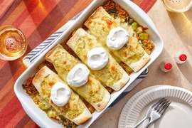 Cheesy Tomatillo Enchiladas with Chayote Squash, Spinach & Mexican-Spiced Rice