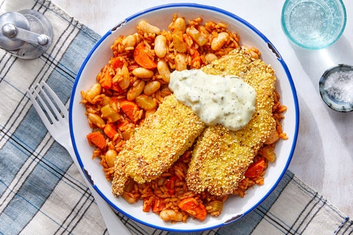 Cornmeal-Crusted Tilapia with Tartar Sauce & Cajun-Spiced Vegetable Rice