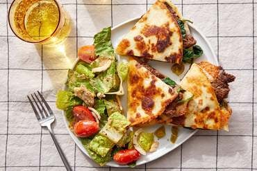 Beef & Spinach Quesadillas with Salad & Smoky Ranch Dressing