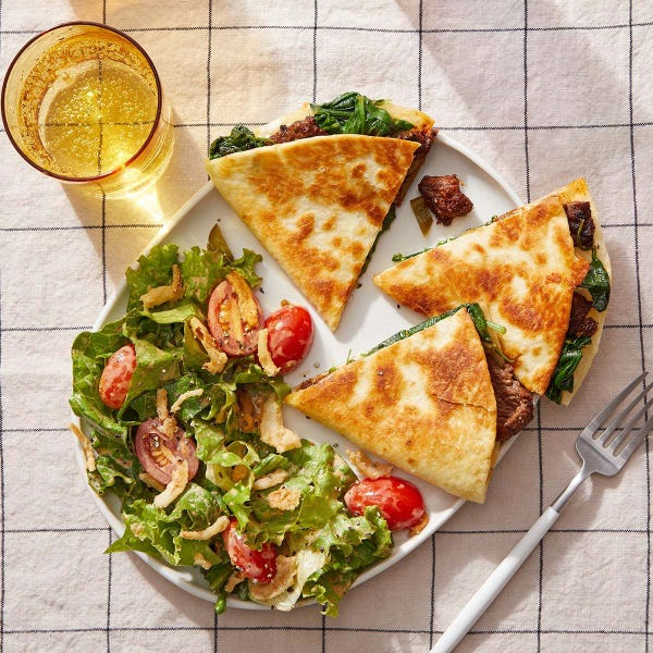 Beef & Spinach Quesadillas with Smoky Ranch-Dressed Salad