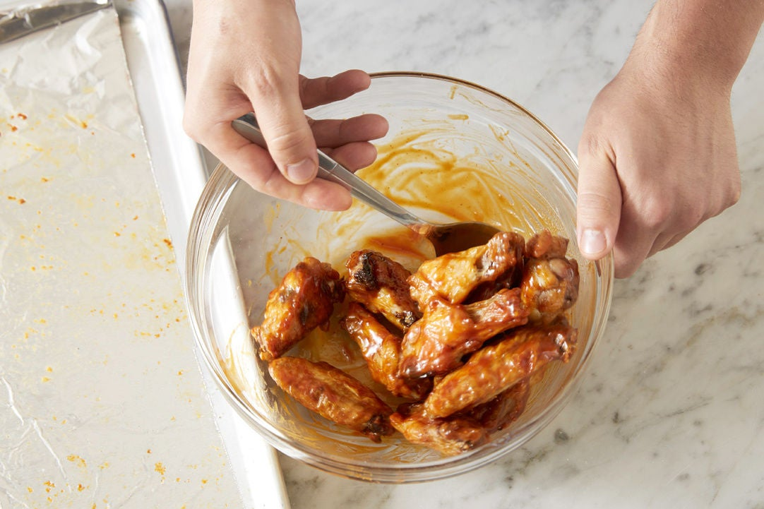 Glaze the chicken wings & plate your dish: