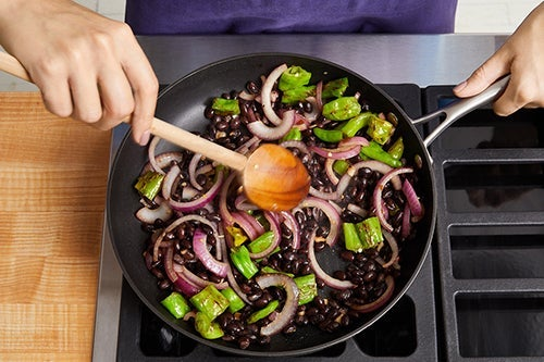 Cook the vegetables & beans: