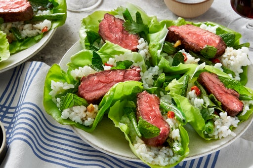 Thai Steak Lettuce Cups with Spicy Green Beans & Sushi Rice