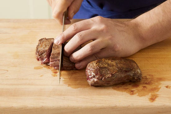 Slice the steaks & plate your dish: