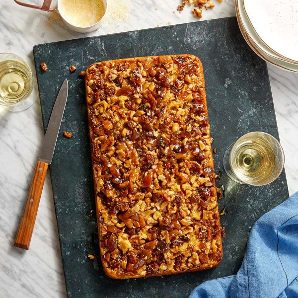 Cornmeal Upside-Down Cake with Raisins, Figs & Walnuts