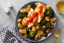 Calabrian Honey Chicken with Gnocchi & Roasted Broccoli