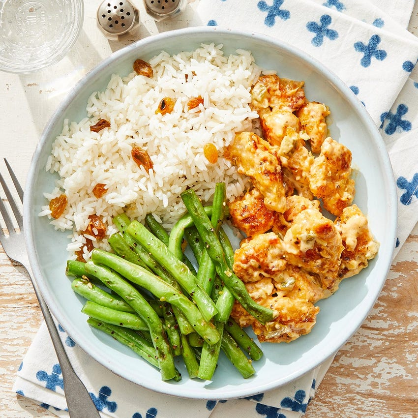 Southern-Style Chicken & Creamy Relish with Green Beans & Jasmine Rice