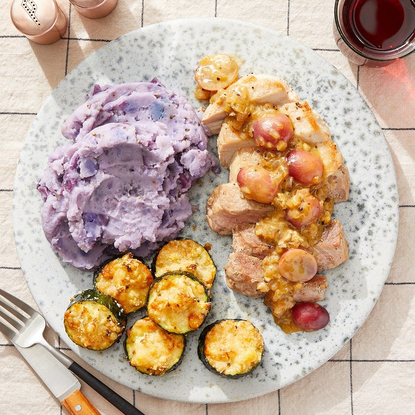 Seared Pork Chops & Mustard-Grape Sauce with Mashed Purple Potatoes & Cheesy Zucchini
