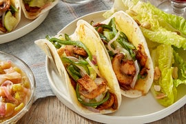 Spicy Mushroom & Summer Squash Tacos with Tomatillo Salsa