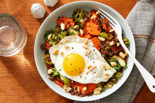 """Quinoa & Vegetable """"Fried Rice"""" with Sunny Side-Up Eggs & Peanuts"""