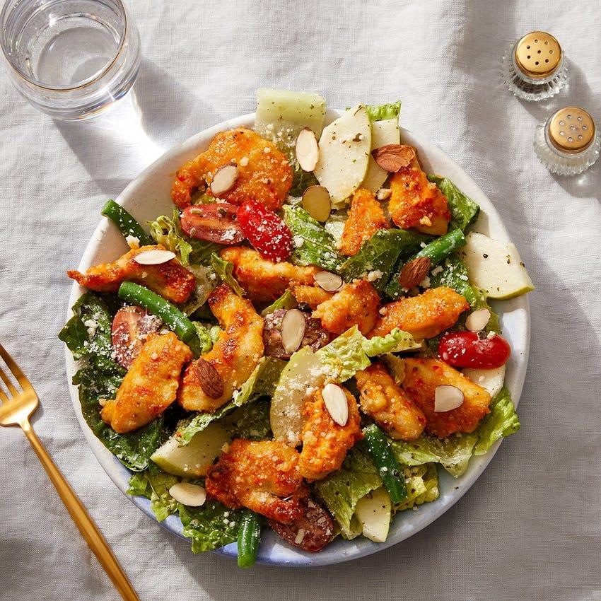 Crispy Calabrian Chicken Salad with Creamy Salsa Verde & Parmesan