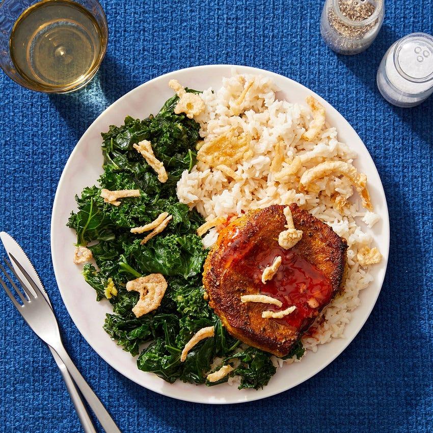 Vadouvan Pork Chops with Coconut-Creamed Kale & Rice