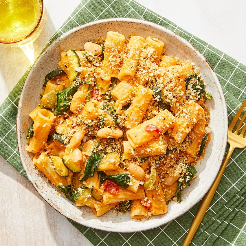 Spinach & White Bean Pasta with Parmesan & Oregano Breadcrumbs