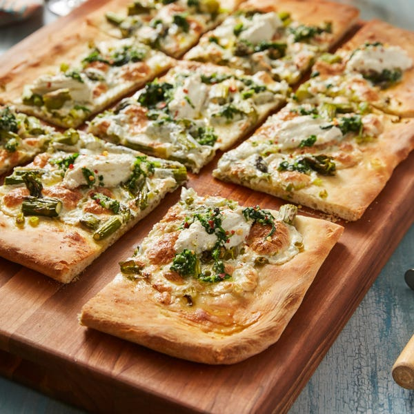 Asparagus & Arugula Pesto Pizza with Pink Lemon Ricotta