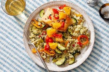 Spicy Salmon & Orange Relish with Salsa Verde Couscous