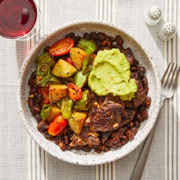 Ancho Beef & Black Bean Bowls with Chayote Squash, Shishito Peppers & Tomatoes
