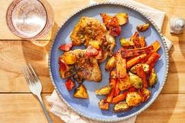 Chicken Thighs & Apple-Sage Pan Sauce with Roasted Winter Vegetables