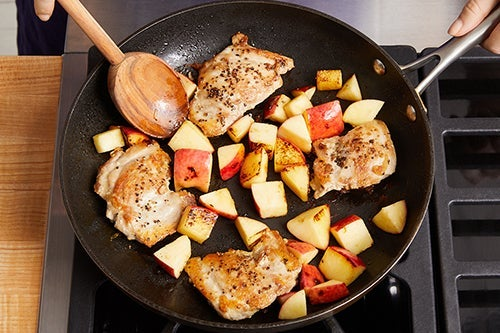 Cook the chicken & apple: