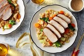 Cumin-Spiced Pork Roast with Vegetable Fried Rice