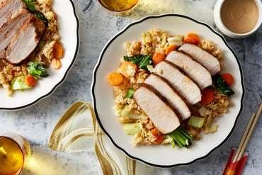 Cumin-Spiced Pork Roast with Vegetable Fried Rice