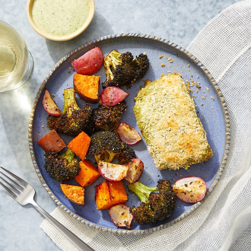 Sheet Pan Pesto Salmon with a Roasted Vegetable Medley