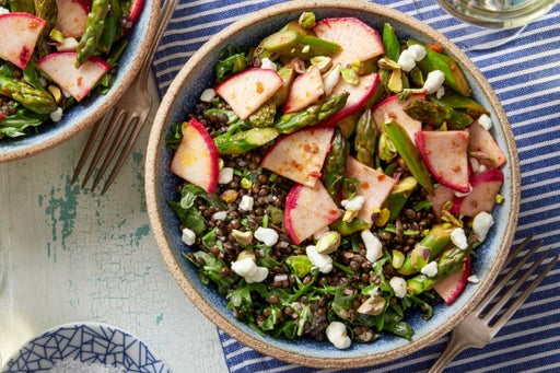 Black Lentil Salad with Spicy Blistered Snap Peas & Asparagus