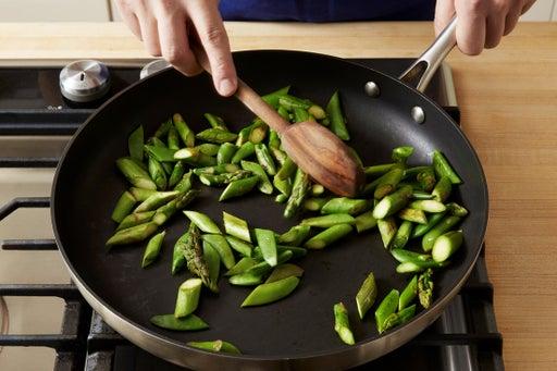 Blister the vegetables: