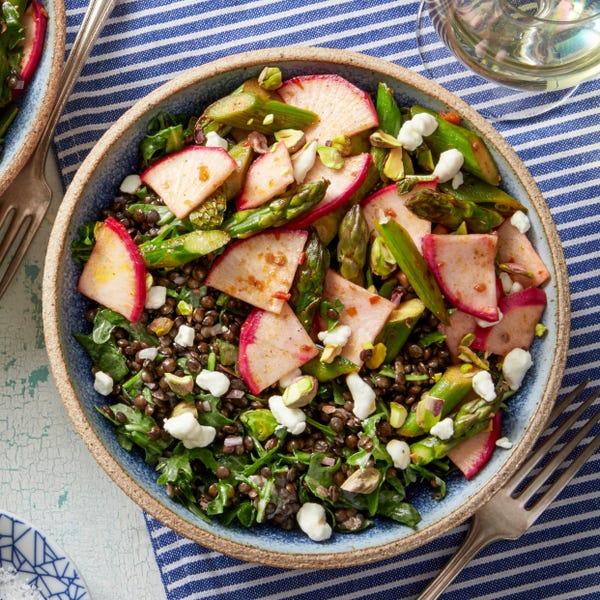 Black Lentil Salad with Spicy Blistered Snap Peas & Asparagus