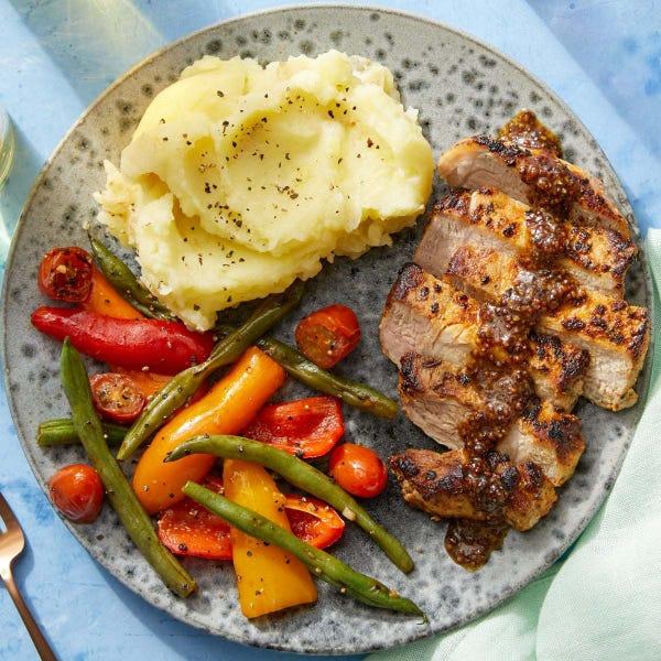 Pork Chops & Buttermilk Mashed Potatoes with Honey-Mustard Pan Sauce & Green Beans