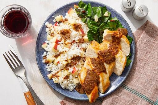 Chicken & Dijon Pan Sauce with Spicy Collard Greens & Apple Rice