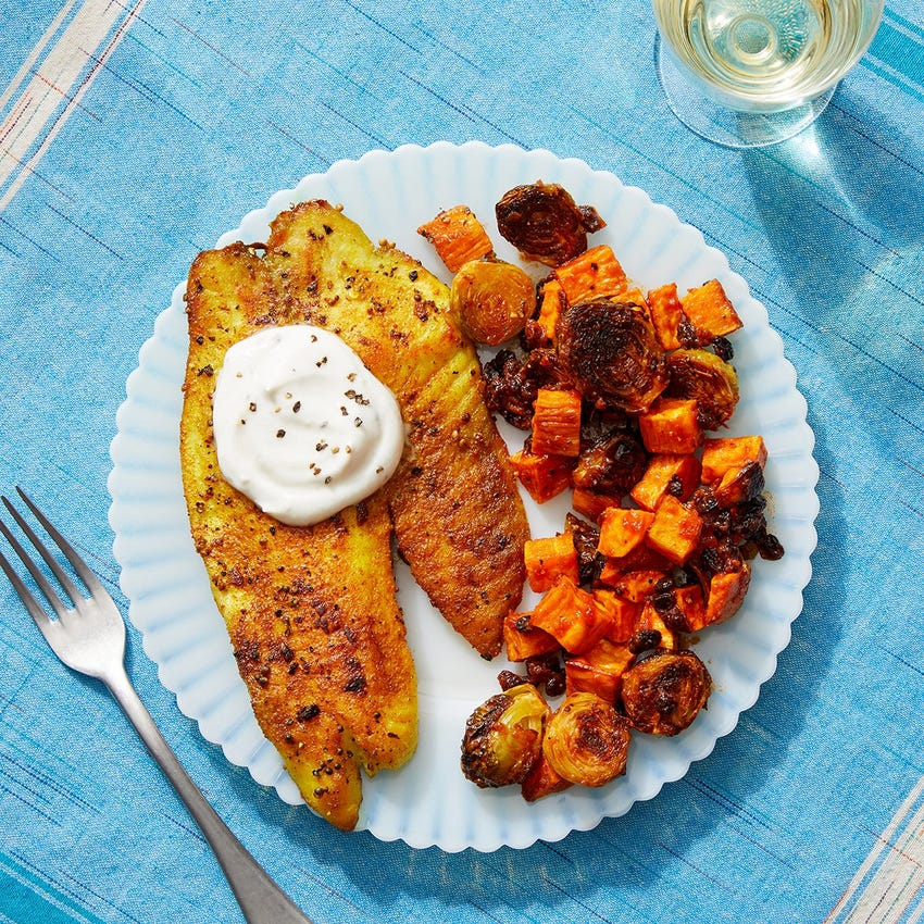 Vadouvan-Spiced Tilapia with Roasted Vegetables & Tomato Chutney