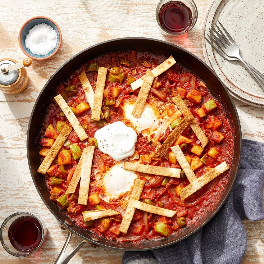 Spicy Chipotle Egg Skillet with Vegetables & Crispy Tortilla Strips