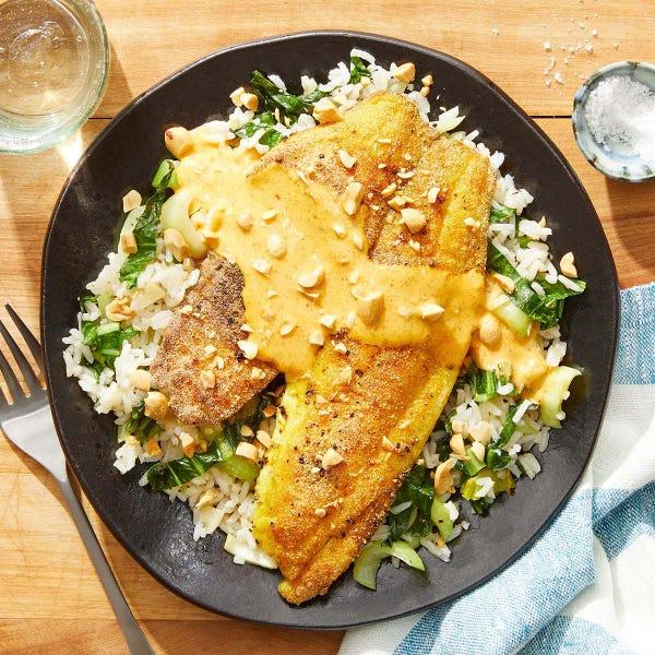 Seared Tilapia & Creamy Curry Sauce with Sesame & Bok Choy Rice