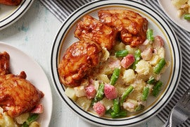 Baked BBQ Chicken with Creamy Potato, Green Bean, & Turnip Salad