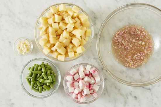 Prepare the ingredients & marinate the shallot: