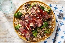 Seared Steaks & Gochujang-Soy Sauce with Broccoli & Mushroom Barley