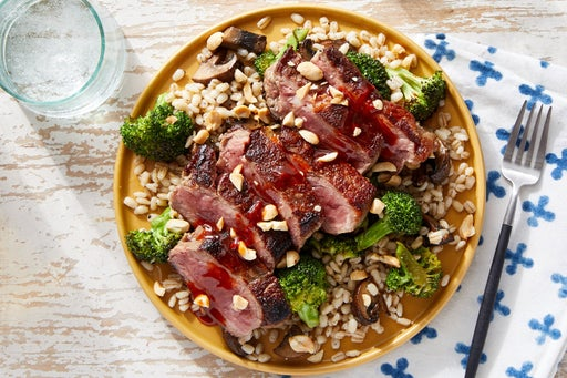 Seared Steaks & Gochujang-Soy Sauce with Broccoli & Mushroom Barley