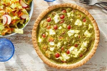 Pesto & Tomato Quiche with Honey Mustard-Dressed Salad