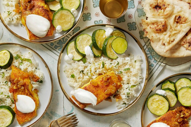 Blue apron yellow squash - Curry Spiced Cod Summer Squash With Ginger Lime Raisins Garlic Naan