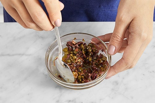 Make the olive topping & serve your dish: