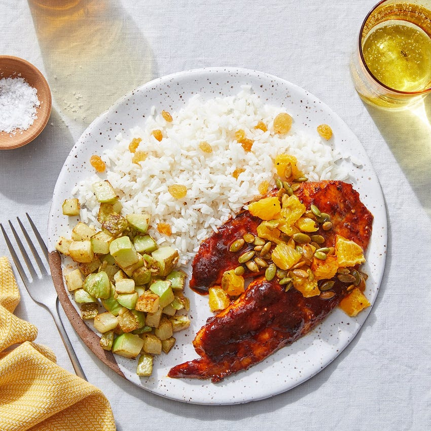 Citrus & Ancho-Glazed Tilapia with Pepita-Orange Salsa & Chayote Squash