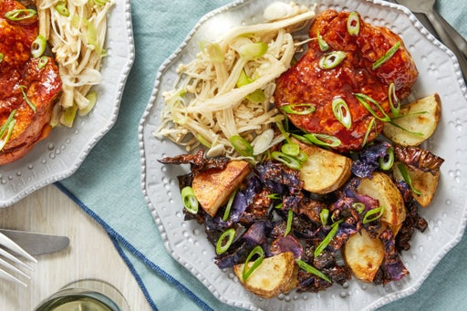 Spicy Korean-Style Chicken with Pickled Enoki  Mushrooms & Roasted Vegetables